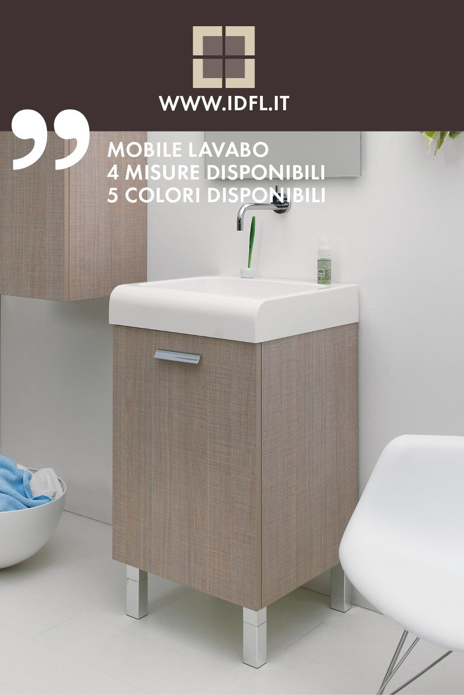 Mobile Lavabo 4 Misure Disponibili 5 Colori Disponibili
