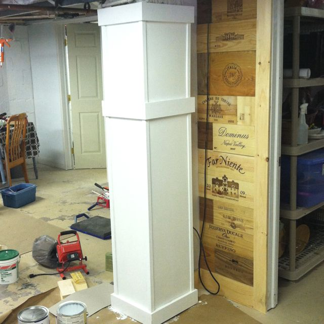 Basement brick column wrapped in mdf and pine trim to for Garage column wrap