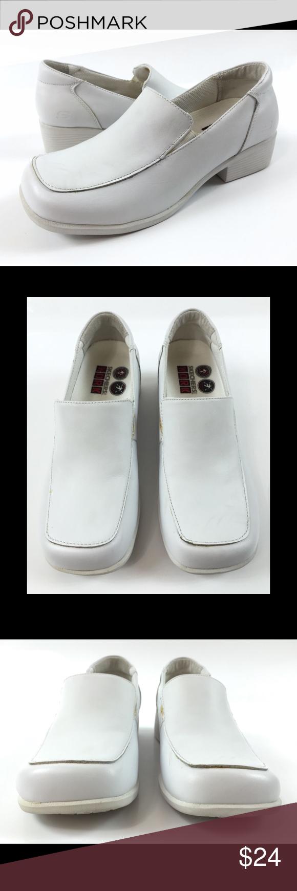 7ec31b52378 Skechers Work EH 7 Slip Resistant Loafers Heels Skechers Work EH Womens 7  White Leather Slip