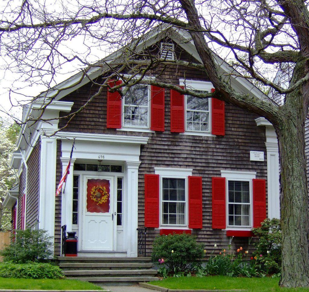 Rhode Island Cottage Cottage exterior, Red shutters, Cottage