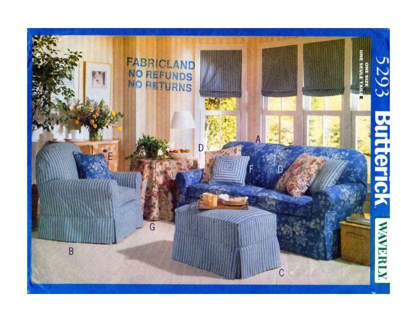 Butterick 5293, DIY, Furniture Slip Cover, Sewing Pattern, Sofa ...