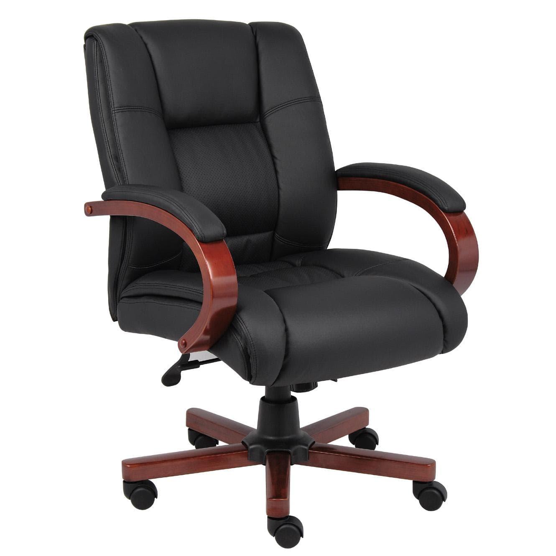 boss mid back wood trim executive chair black mahogany brown rh pinterest com