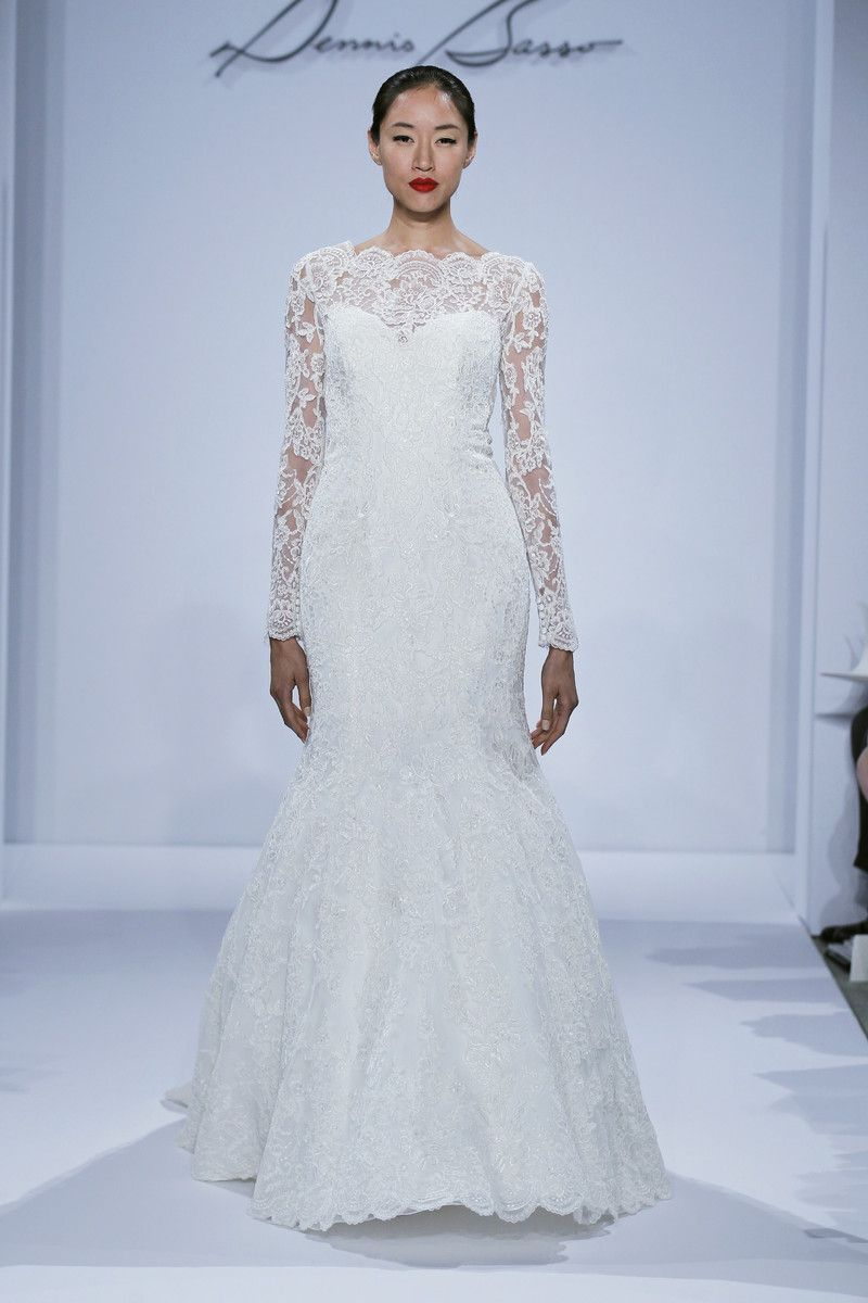 Bateau Mermaid Wedding Dress with Dropped Waist in Lace | Dream ...