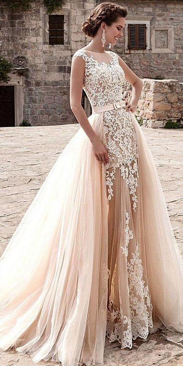 Glamorous Tulle Jewel Neckline See-through 2 in 1 Wedding Dress With ...