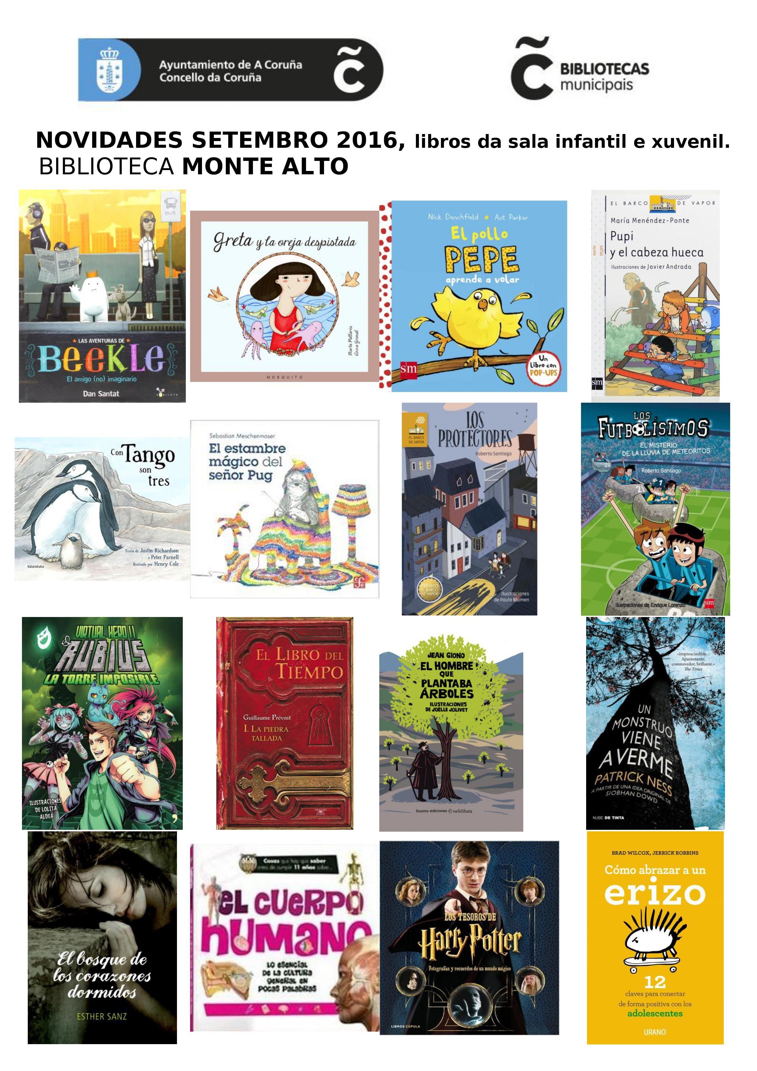 Novas lecturas de setembro da sala infantil e xuvenil da biblioteca Monte Alto.