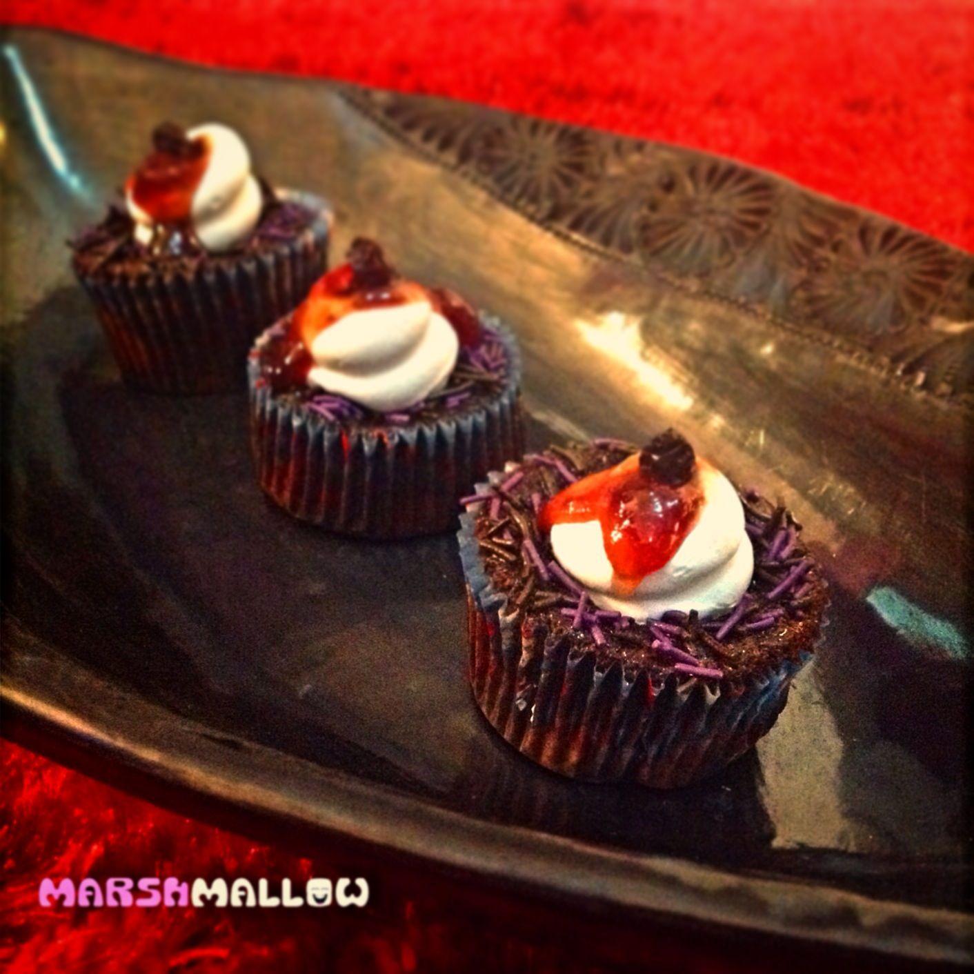 Cupcakes con mix de frutos rojos y platano