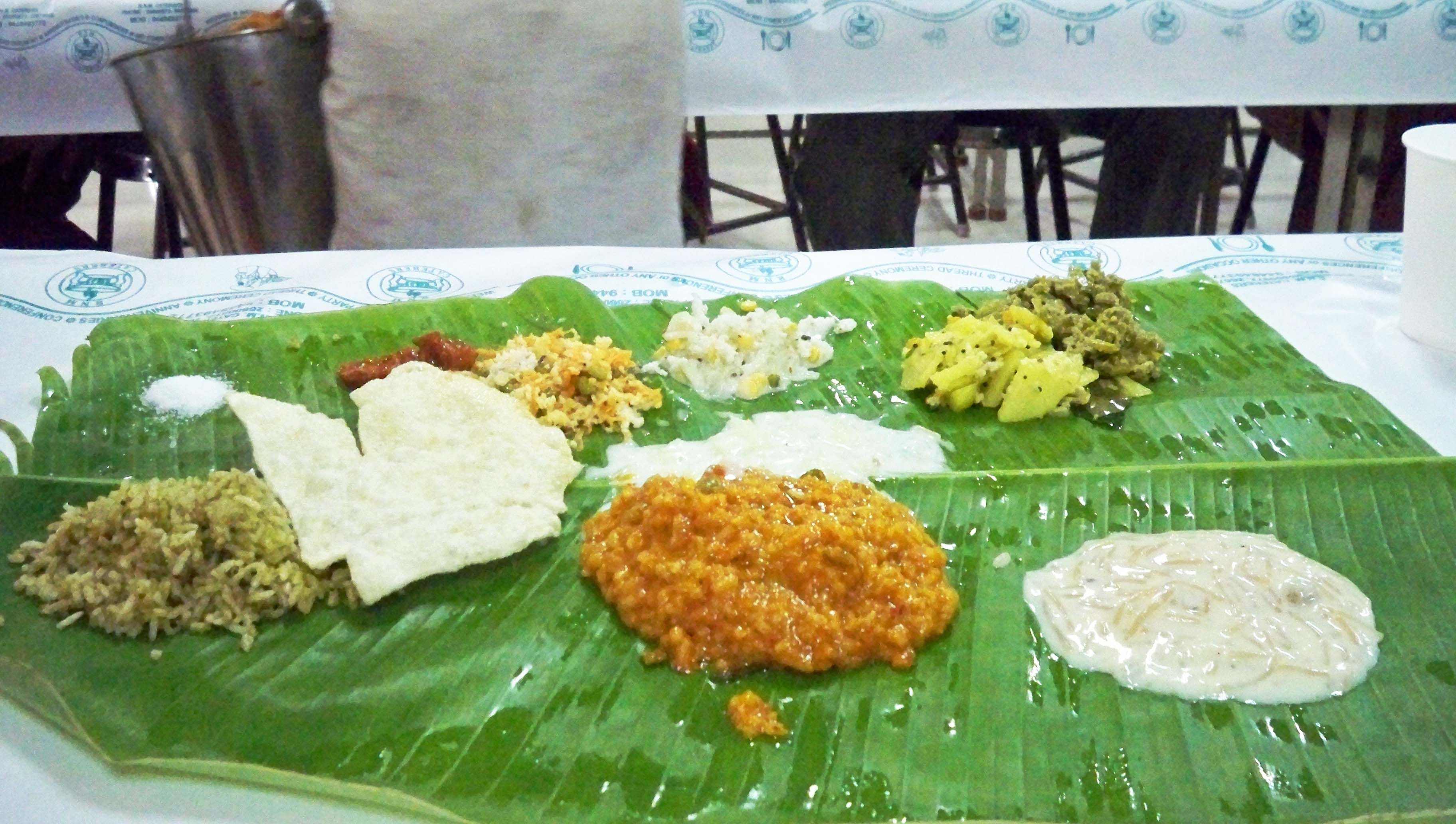 Hindu Wedding Food South Indian Served On A Banana Leaf