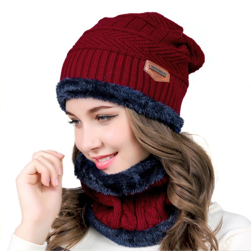 7eaa5d21440 muco Womens Mens Winter Hat Warm Thick Beanie Scarf for Winter Knit Ski  Beanies  muco