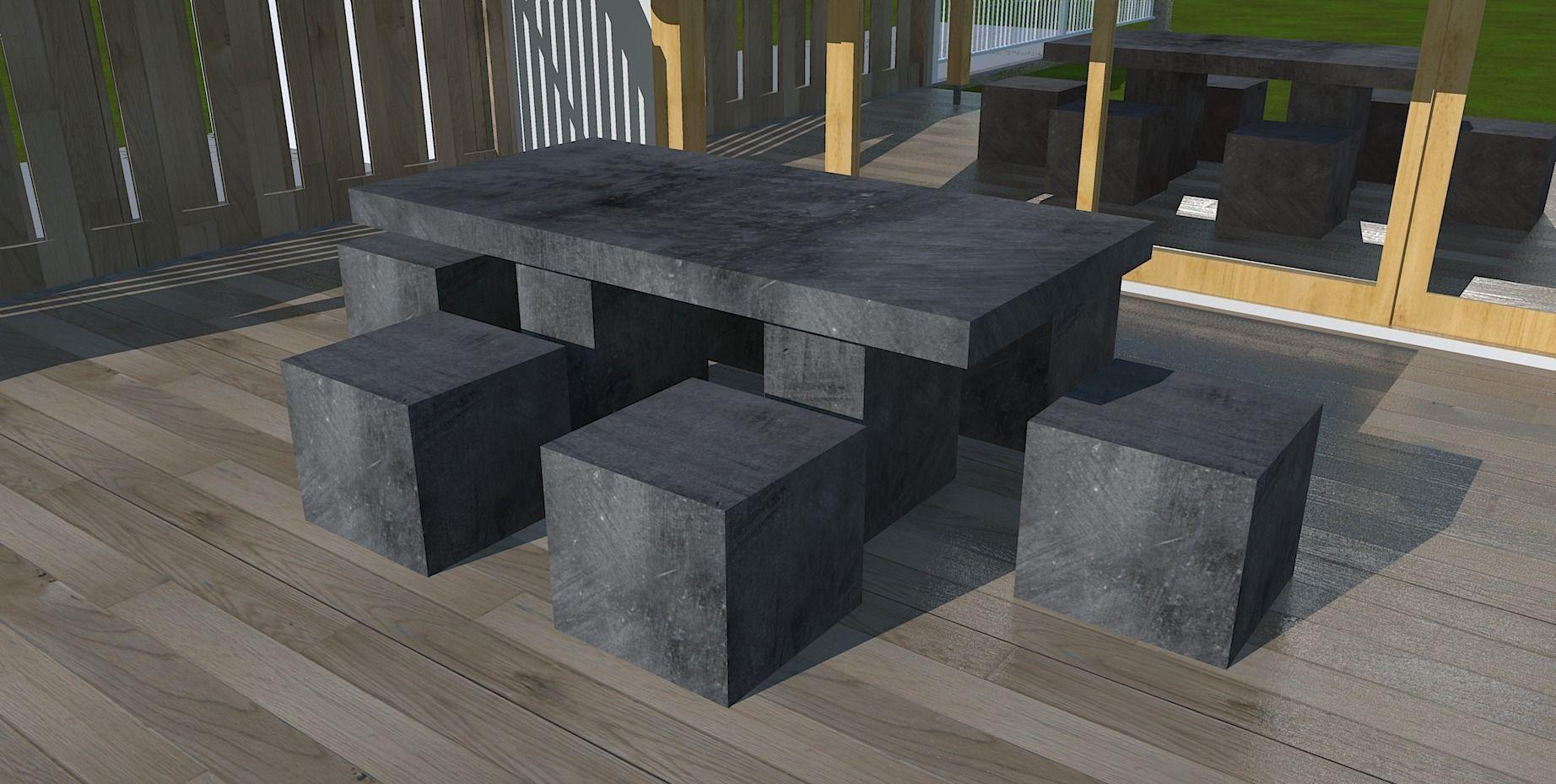Ensemble Table Exterieur 6 Personnes Avec Tabourets Cube En Beton Cire Meubles Et Rangements Pa Mobilier De Salon Meuble Cuisine Exterieur Meuble Exterieur