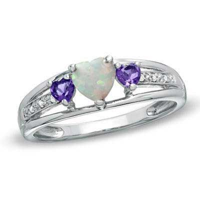Zales Heart-Shaped Amethyst, Lab-Created Pink Sapphire and Diamond Accent Ring in Sterling Silver