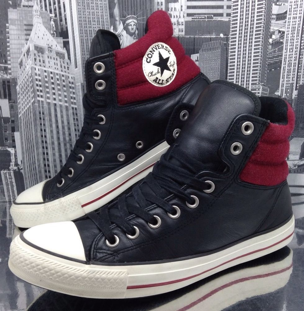 black and red leather converse