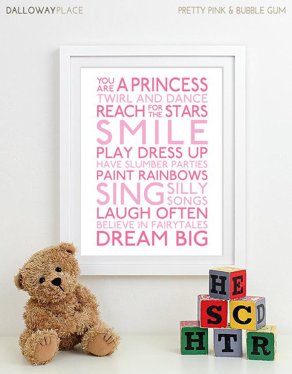 Baby Girl Nursery Art Print nursery decor kids wall art children ...
