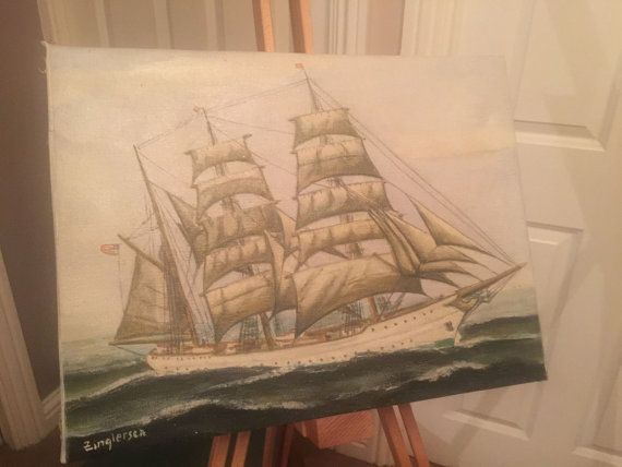 Oil Paining Of A Ship On Canvas Unframed by OnlineAntiquesuk