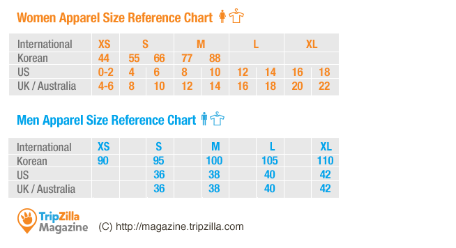 InfoChart] Korean Clothing Sizes - Know Before You Shop