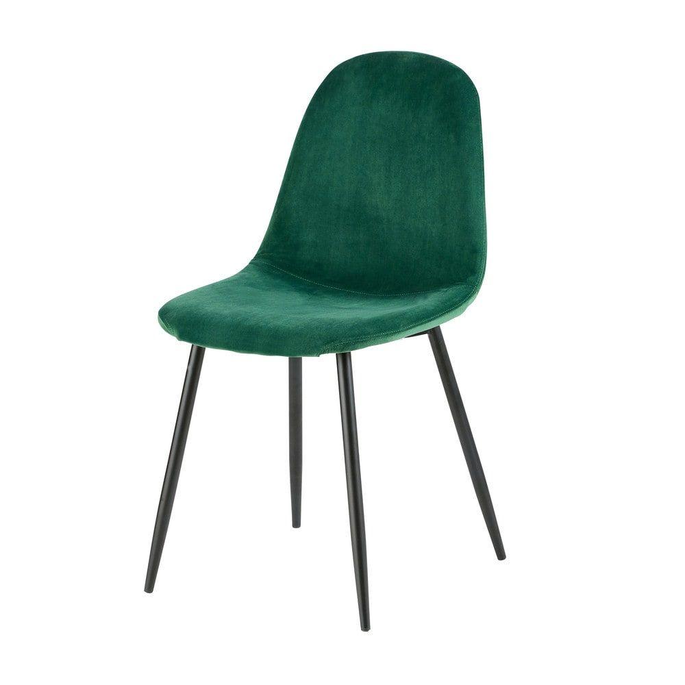 scandinavische stoel met bekleding van groen velours