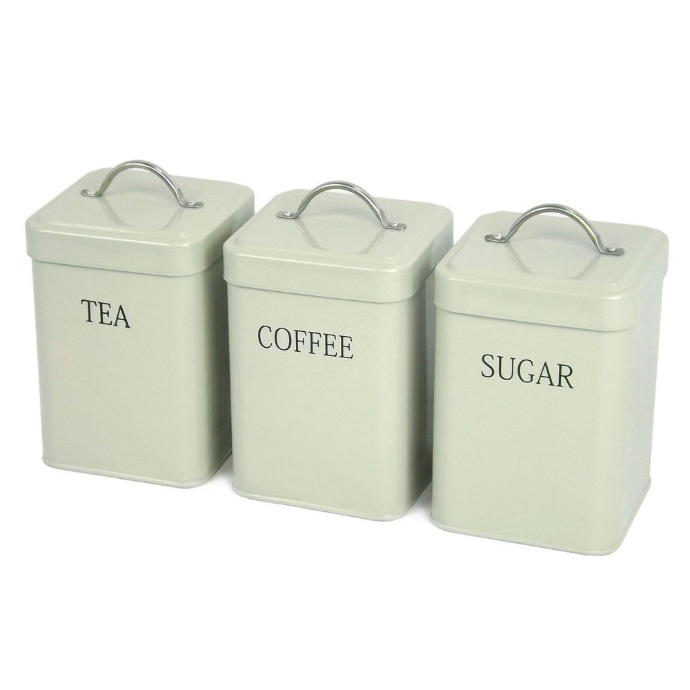Set Of 3 Sage Olive Green Tea Coffee Sugar Kitchen Storage Jars Tins