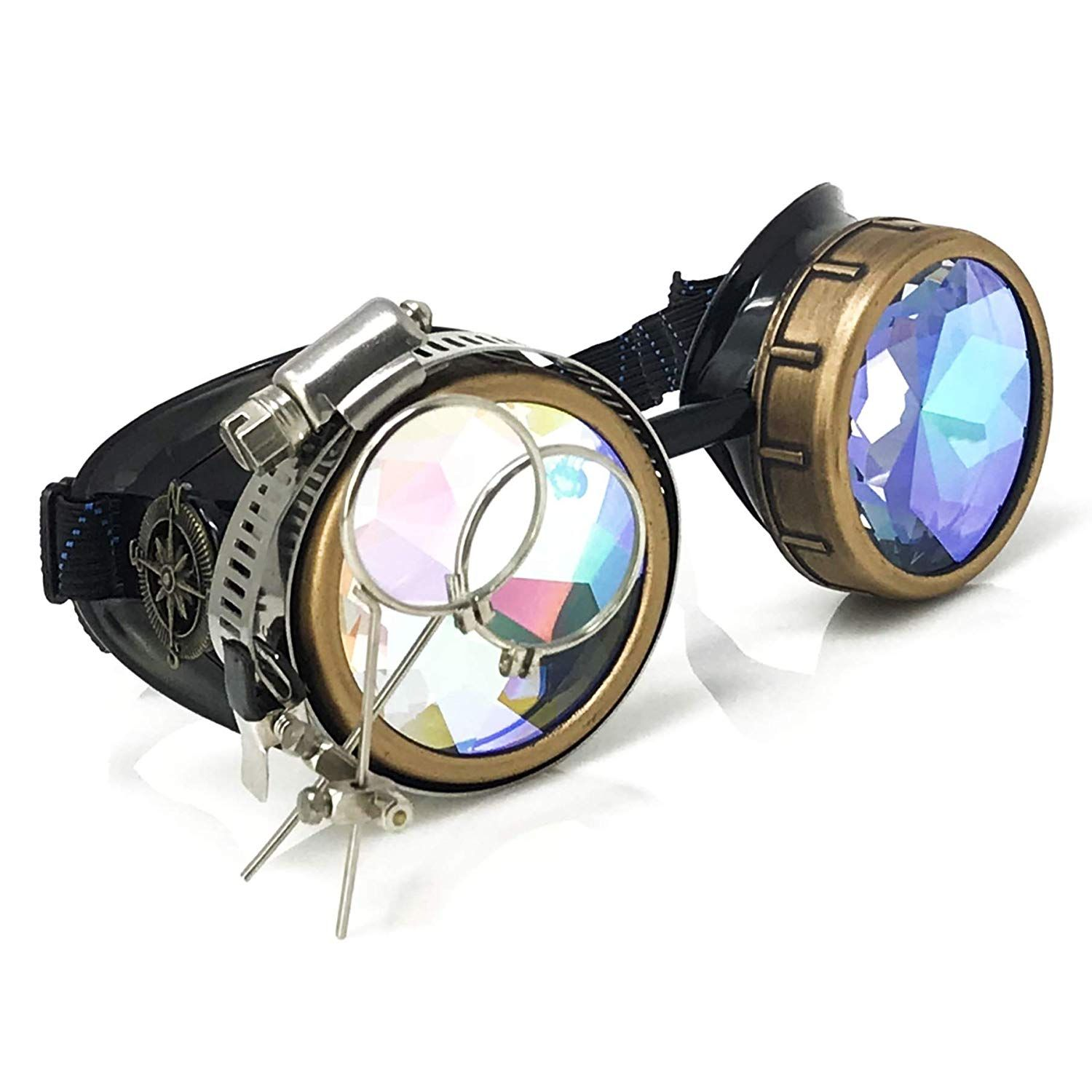 Amazon Com Enjoy Your Steampunk Victorian Style Goggles With Compass Design Azure Blue Lenses Ocular Loupe Steampunk Goggles Victorian Fashion Rave Glasses