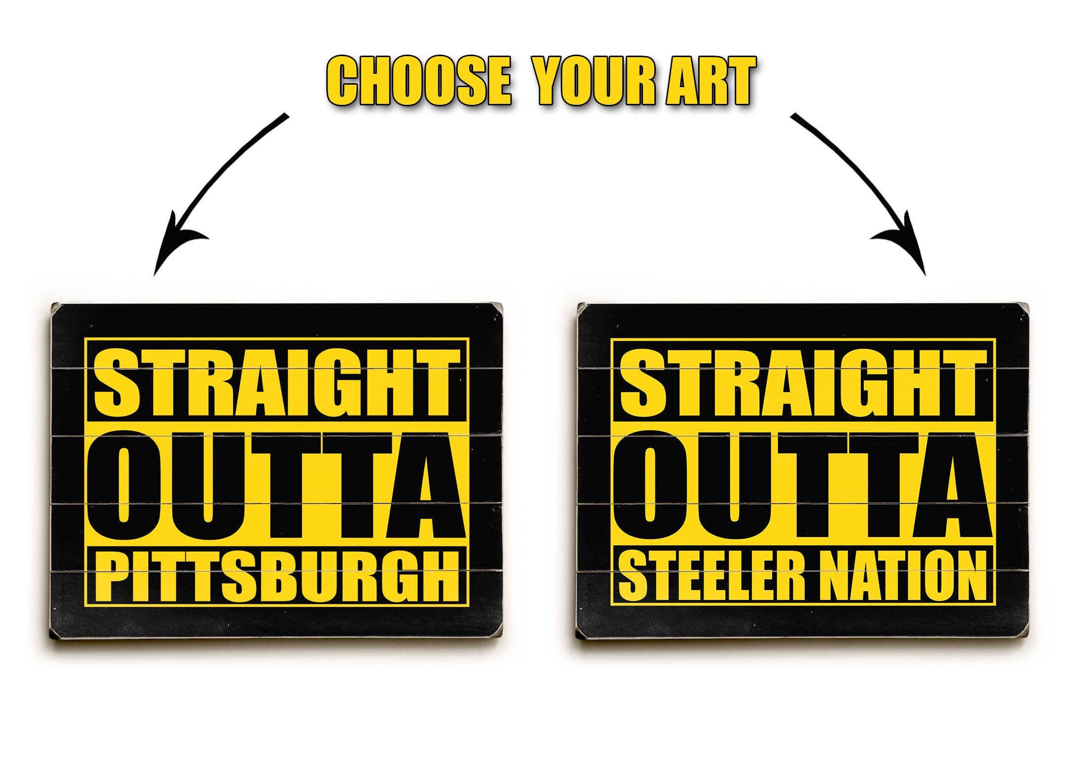 Pittsburgh Steelers wood sign, straight outta Pittsburgh printed on ...