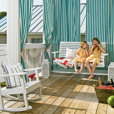 Summer Striped Porch from Coastal Living (love those turquoise stripes!)