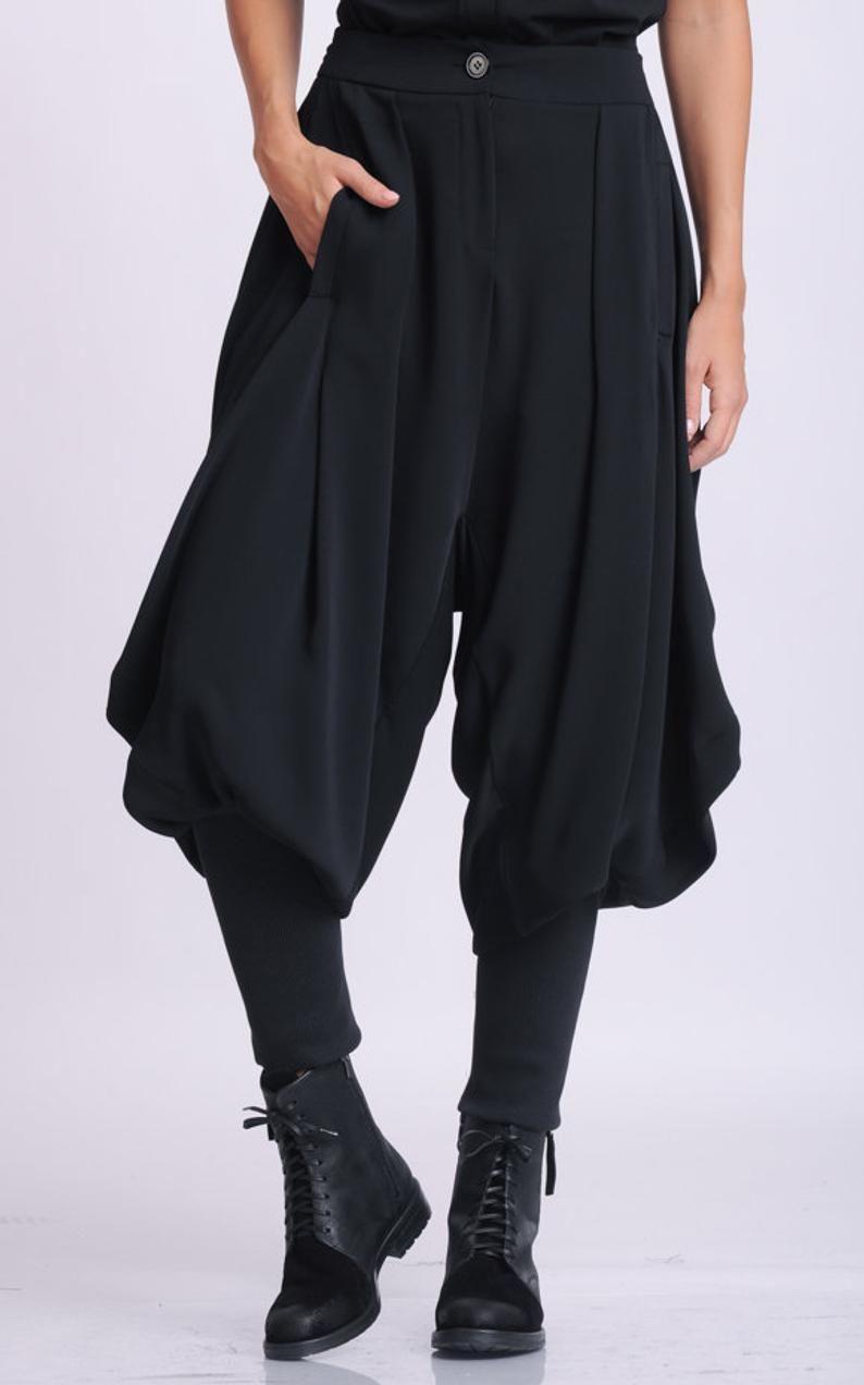 Black Drop Crotch Pants/Loose Maxi Pants/Extravaga