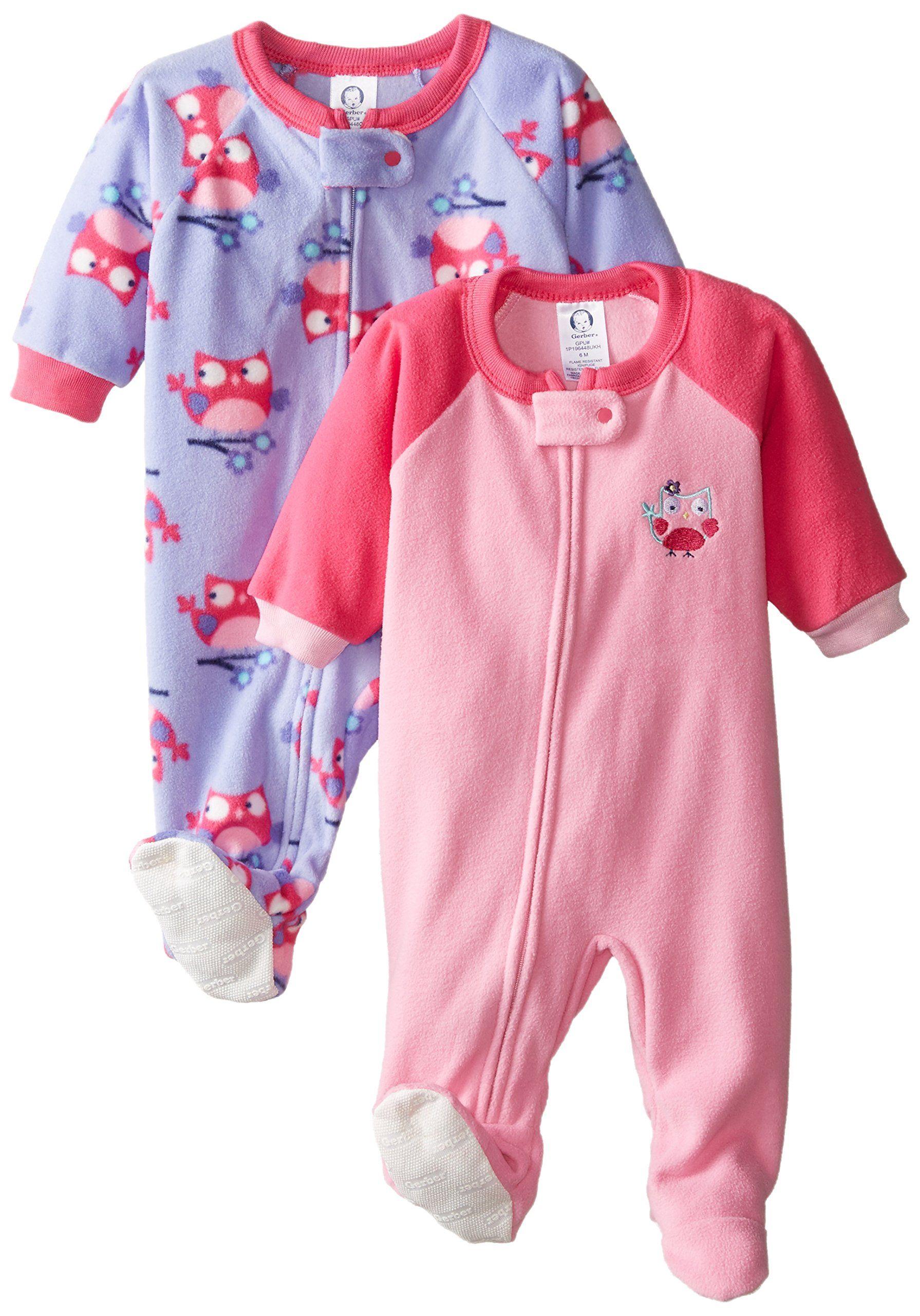 Amazon.com  Gerber Baby-Girls Newborn Owl 2 Pack Blanket Sleepers  Clothing 69f5facd9