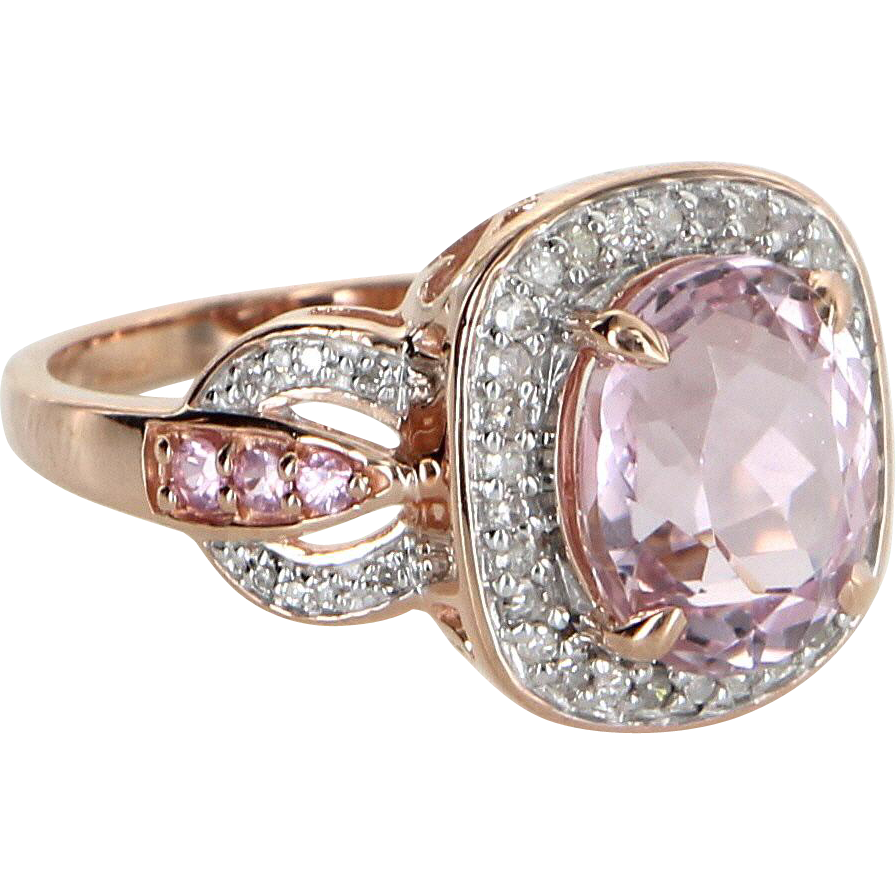 Morganite Diamond Cocktail Ring Estate 10 Karat Rose Gold Vintage Fine Jewelry Sz 9 Jewelry Diamond Fashion Vintage Fine Jewelry