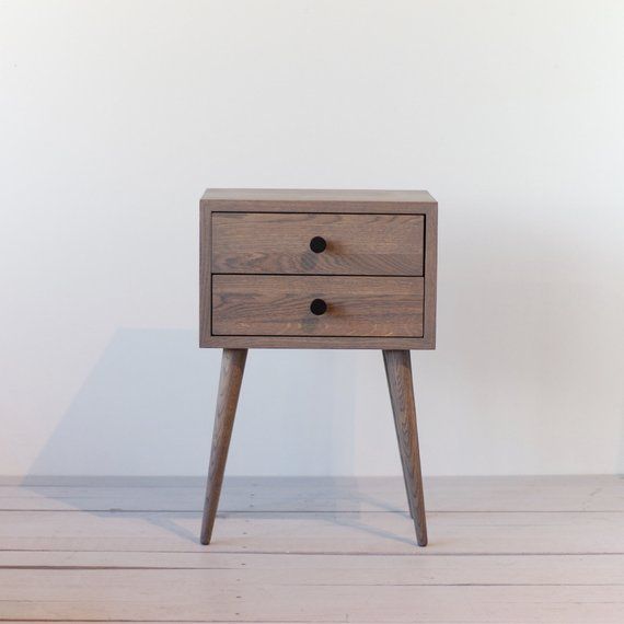 Best Grey Two Drawers Nightstand Mid Century Modern Bedside 640 x 480