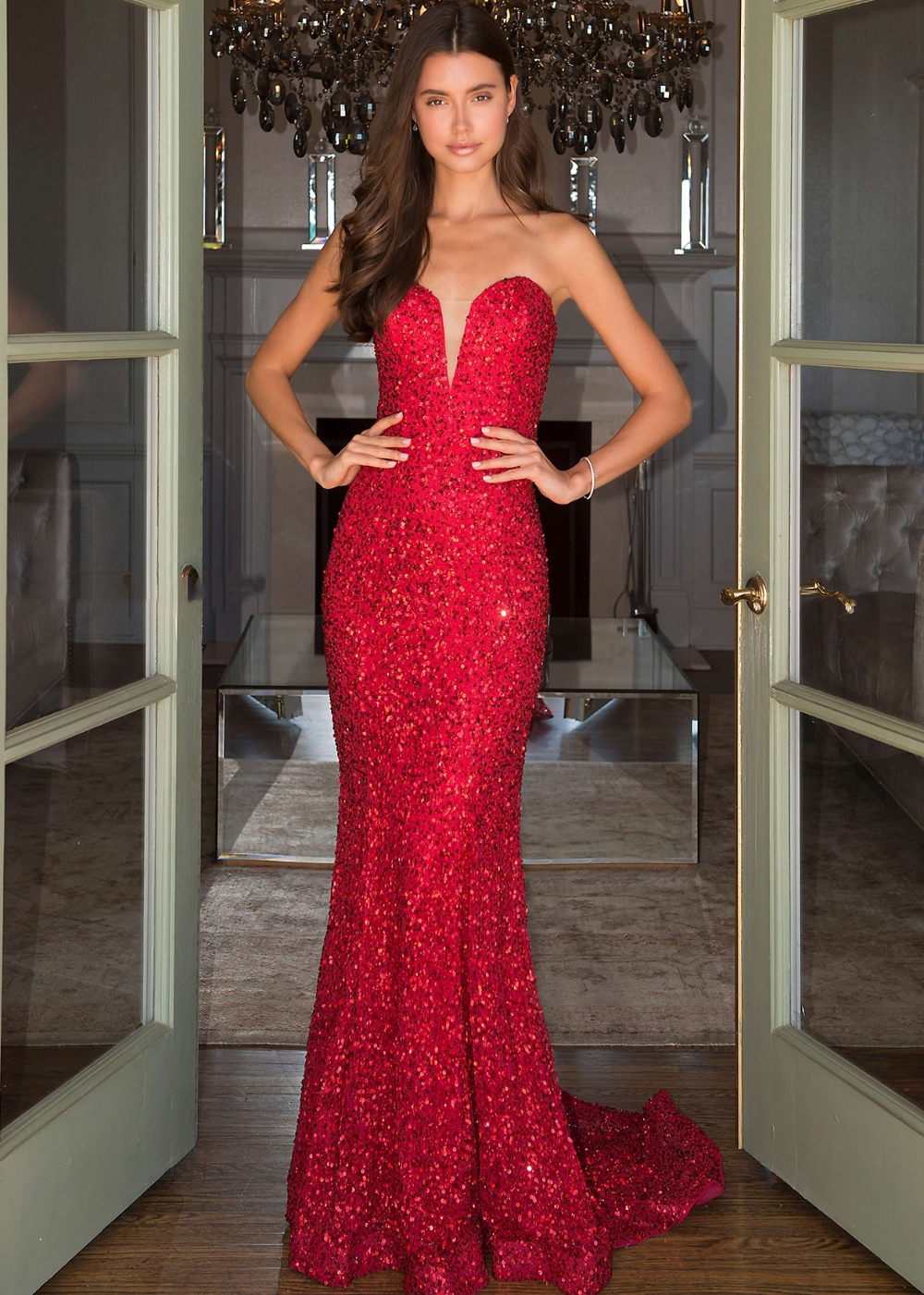 Scala 60093 Prom Dress Red Sequin Strapless Fitted Mermaid Gown Red Mermaid Prom Dress Red Mermaid Dress Dresses [ 1401 x 1000 Pixel ]