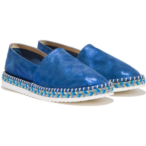 Casadei Espadrillas (16,540 THB) ❤ liked on Polyvore featuring shoes, sandals, sparkly shoes, multi color shoes, suede espadrilles, espadrille shoes and multi colored sandals
