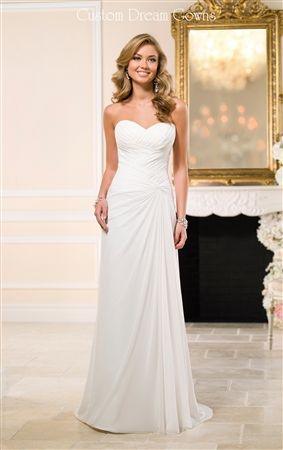 Dreamy Chiffon Sheath Gown with a Strapless Sweetheart Neckline, Criss-Cross Ruched Fitted Bodice with a Twist or Fabric on Side, Draped Chiffon Sheath Skirt, Brush Train, Back Corset Closure. #simpleweddingdress #chiffonweddingdress #beachwedding #destinationgown #prettybride #prettyweddinggown #beautifulweddingdress #summerwedding #weddingfashion #weddingdress2015 #chic #sheathweddingdress