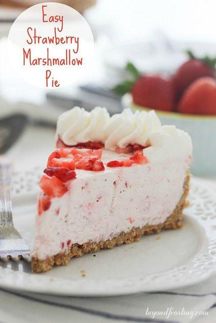 Easy Strawberry Marshmallow Pie Recipe Desserts Strawberry Recipes Strawberry Cream Pies