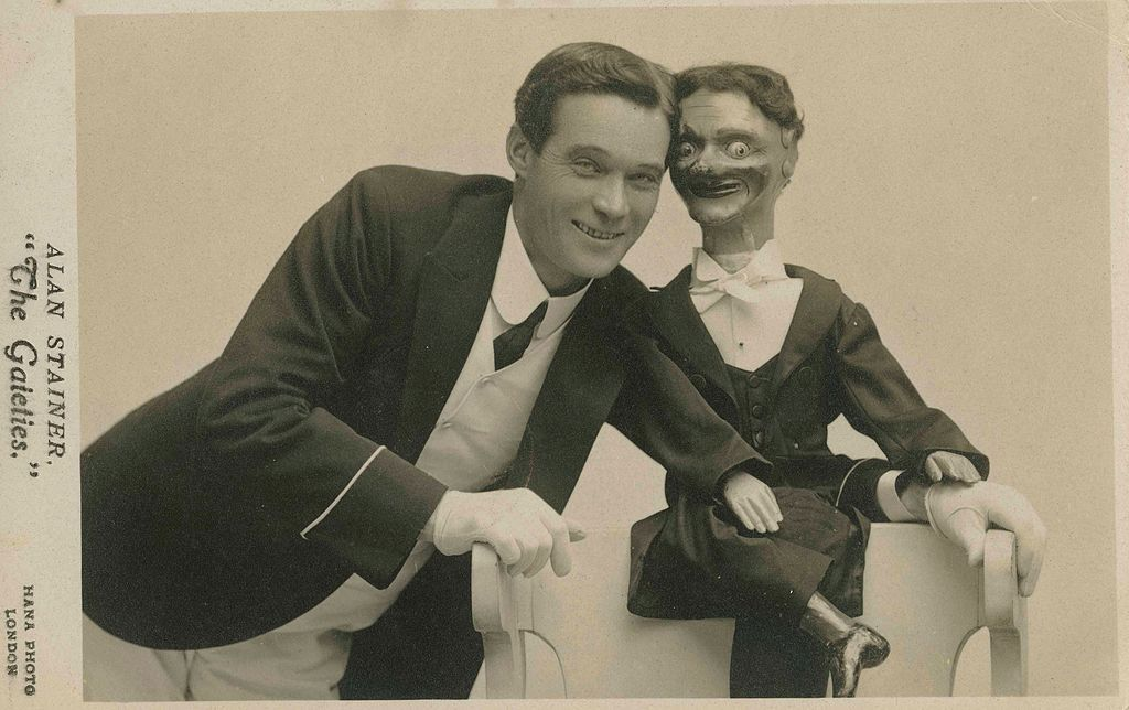 Photographic postcard of ventriloquist Alan Stainer of 'The Gaieties'. (10434865695).jpg