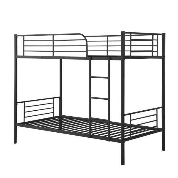 Harper Bright Designs Black Twin Over Twin Metal Bunk Bed