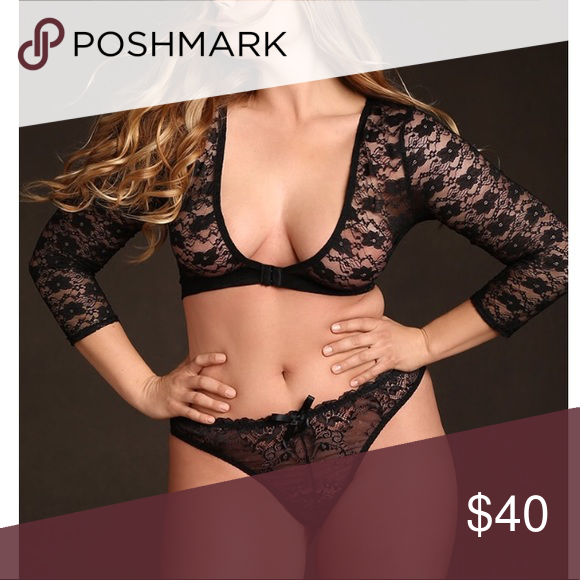 90b05801426 Hips and Curves stretch lace bolero top Black