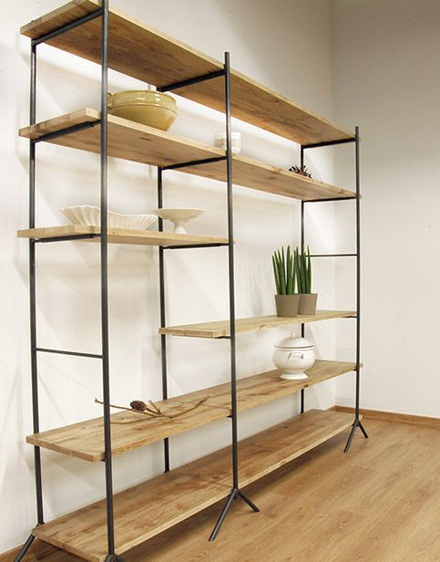 Estanter as closets muebles muebles hierro y madera y for Muebles de madera industrial acero