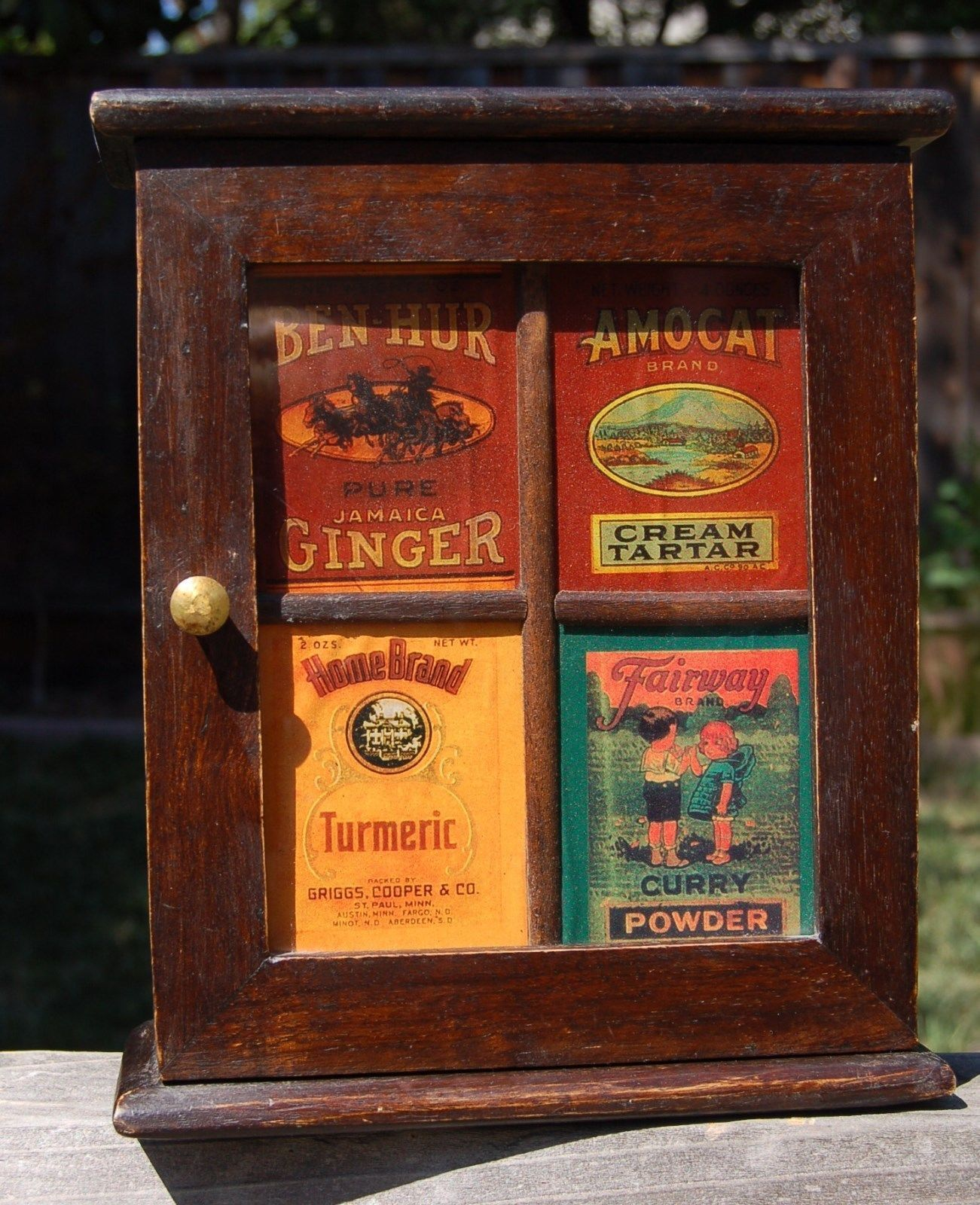 Vintage Wooden Spice Apothecary Cupboard Cabinet Glass