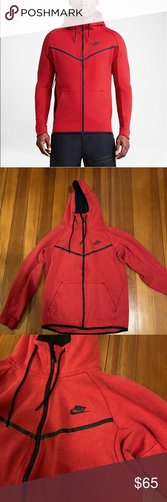 NIKE Tech Fleece Hoodie University Red. Size S Nike tech