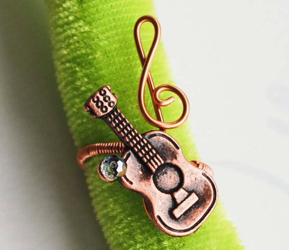 Classic Guitar Treble Clef Note Copper Wire by jeanninehandmade