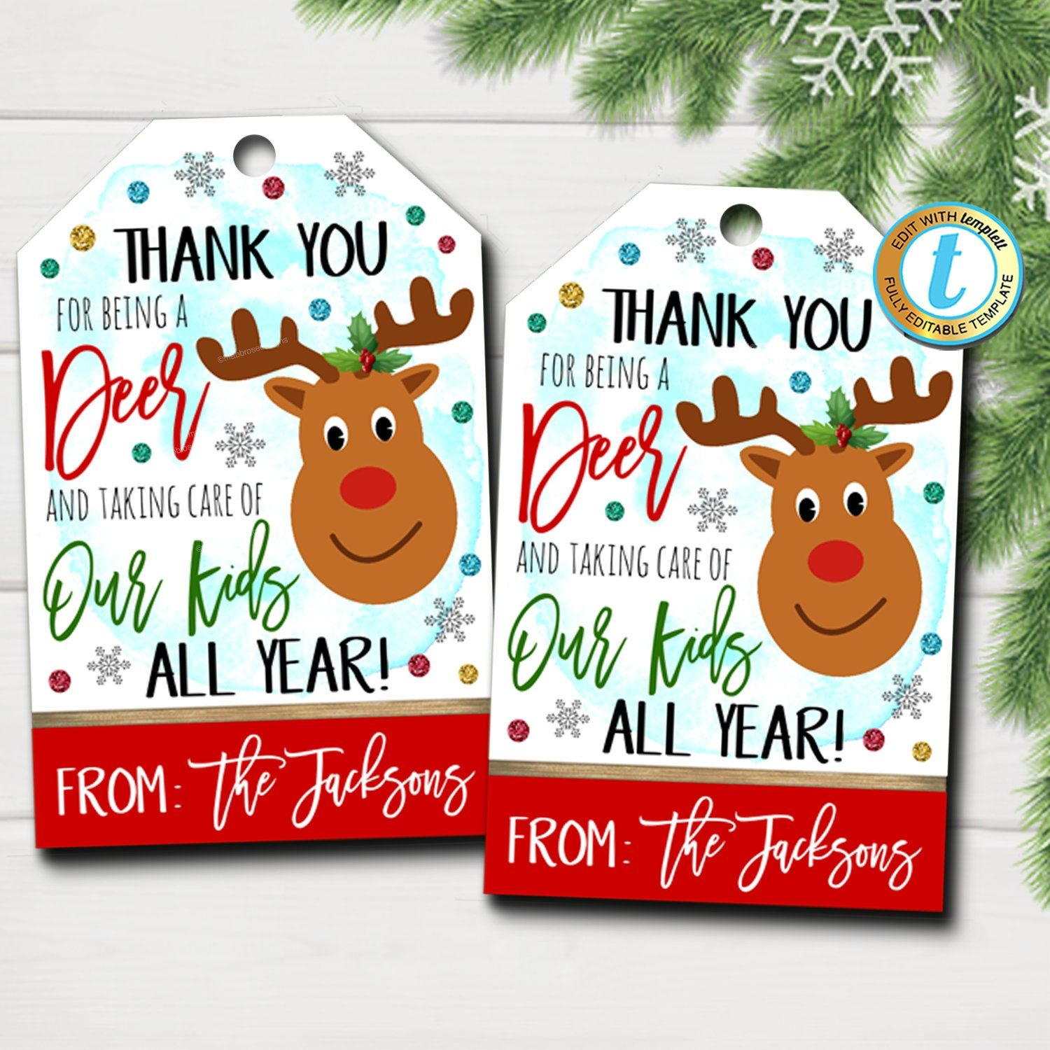 Christmas Gift Tags Thank You For Being A Deer Taking Care Of Etsy In 2021 Holiday Tags Christmas Gift Tags Gift Tags