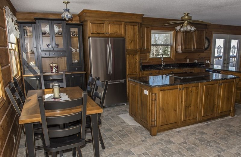 Knotty Pine Kitchen Glazed Finish Granite Counter Top With Distressed Black  Table Set China Cabinet Black