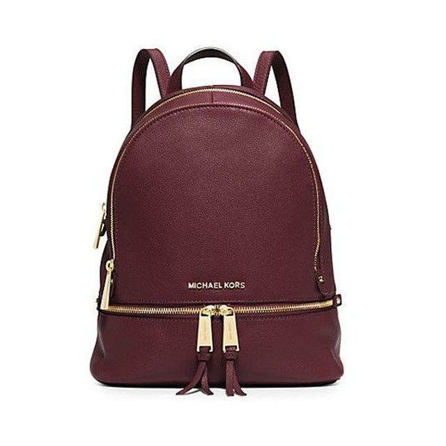 b9b61b4d224e9 MICHAEL Michael Kors Rhea Small Leather Backpack Burgundy