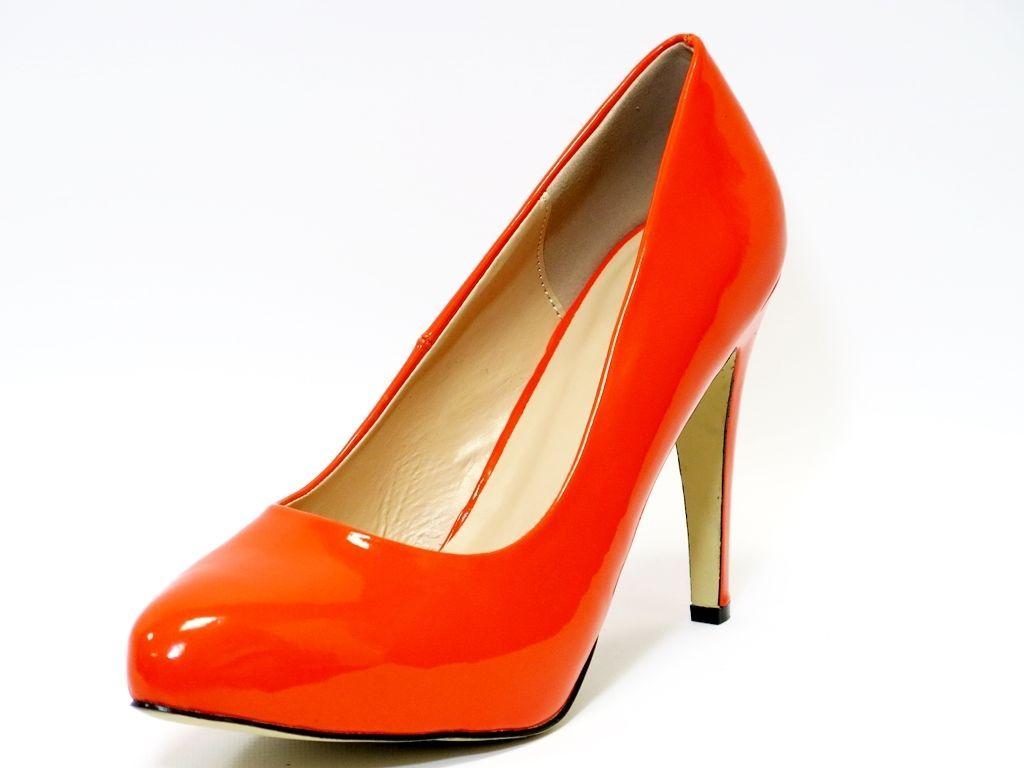 Las Womens High Heel Court Shoe Office Formal Shoes Orange Uk Size