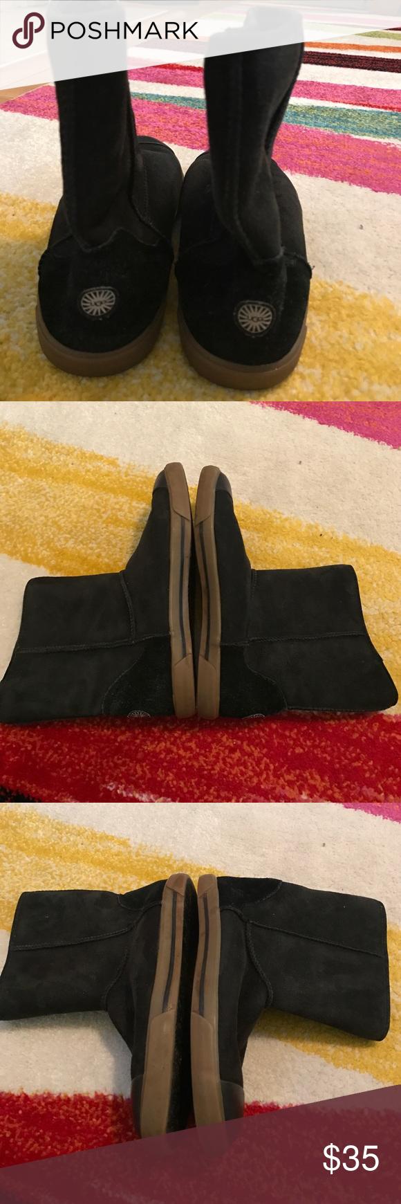 Ugg delaine black suede boots girls size 4 Short black suede boots. Preowned. Size 4 girls UGG Shoes Boots