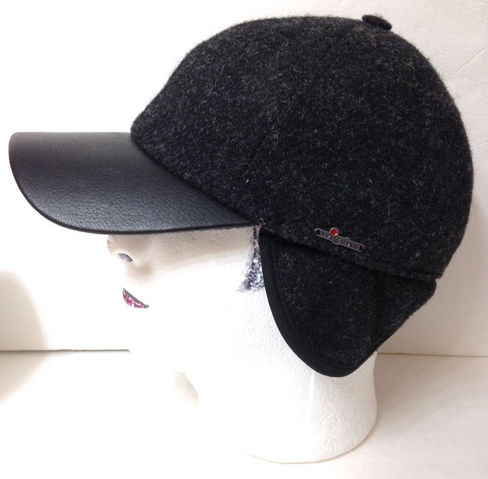 357f85c1a24 WIGENS ODELL HARRIS TWEED TRAPPER HAT Dark Gray Ear Flap Wool Leather 59cm  7-3 8  Wigens  TrapperHat