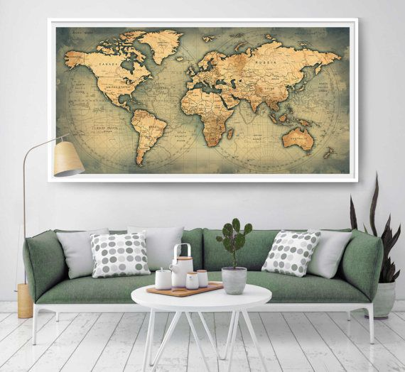 Large push pin world map travel map living home dcor wall art large push pin world map travel map living home dcor wall art poster personalized gift for gumiabroncs Image collections