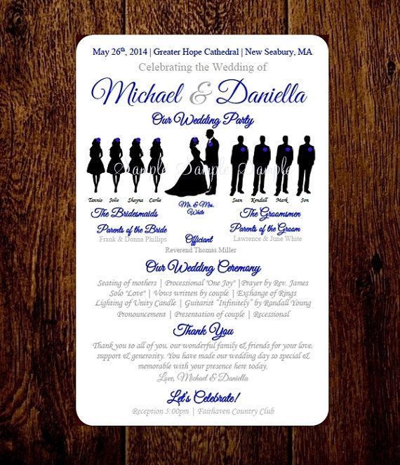 Personalize Download Print Silhouette Wedding Program Etsy Wedding Programs Wedding Silhouette Elegant Wedding Programs