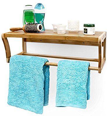 Relaxdays Wandregal mit Handtuchstange aus Bambus HBT 20 x 60 x 26 - handtuchhalter für küche