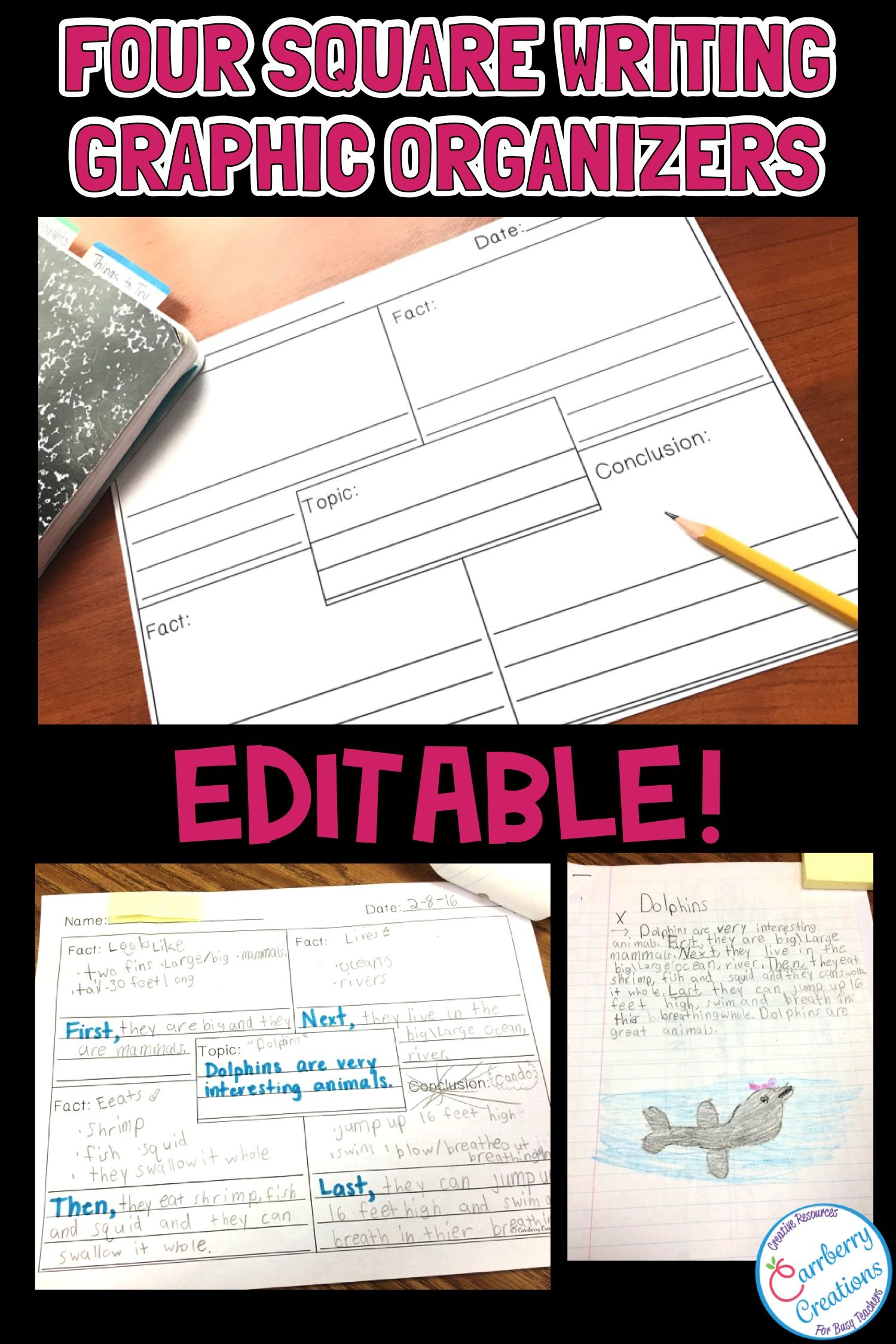 Four Square Writing Graphic Organizers Template Pack