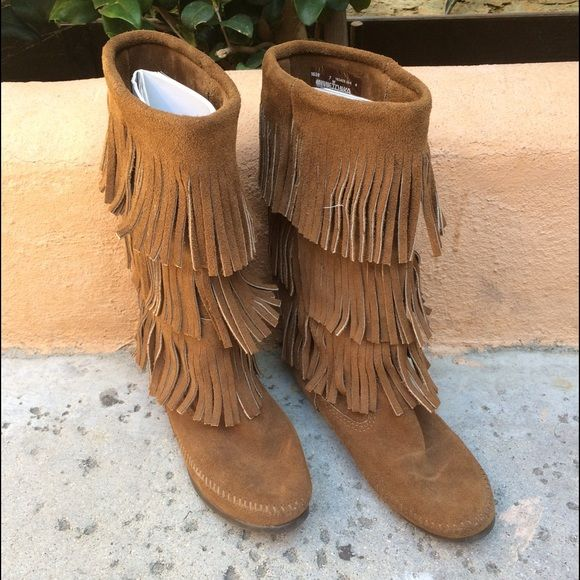 Minnetonka 3 Fringe Moccasin Suede Boots NO TRADES! Worn a couple times, excellent condition. Size 7 and super comfortable. Price is firm for these. Minnetonka Shoes Ankle Boots & Booties