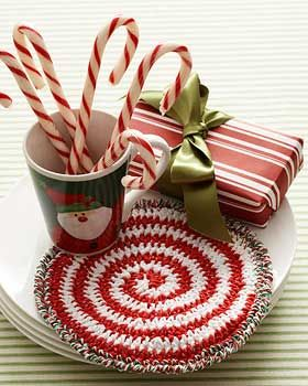 Swirled like a mint, this hot pad will be the perfect addition to your holiday dinner setting.